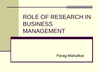 Role of Research in Business  Management.ppt
