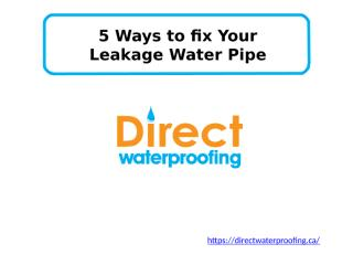5 Ways to fix Your Leakage Water Pipe.pptx